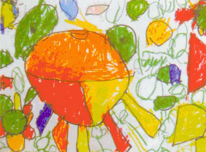 如图二与图三,同一班的孩子画同样的主题,却有着截然不同的结果,图一画面描绘出了小兔一家欢庆的热烈场面。不管是从兔爸、兔妈咧嘴大笑的表情中,还是从空中徐徐上升的气球上,都不难发现,在长耳朵兔的大家族里,刚发生了令人兴奋、愉悦的大事情,兔子们正共同分享着这份幸福与快乐!