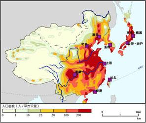 中国人口密度分布图_亚洲人口密度分布图