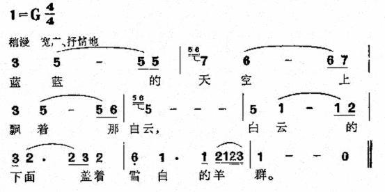 藏族民歌的曲调朴质流利,节奏较有规则,具有舞曲的特点。藏族民间歌舞弦子、堆谢和古典歌舞囊玛都包含着一些优美的民歌。藏族民歌流传于西藏、四川、青海、云南等地,广泛流传的藏族民歌《在北京的金山上》,是一首翻身农奴热情歌颂毛主席的新民歇,用的是西藏传统民歌《工布箭歌》的曲调。   维吾尔族素来有着歌舞民族的称号。维族人民能歌善舞,他们的民歌也常具布舞曲的特点,节奏性很强;速度快时往往表现热烈、欢腾的情绪,速度慢时则又深情婉转,富于细腻的表情。维吾尔族民歌《手挽手》,是一首歌唱青春友谊的歌曲,演唱时是弹着民