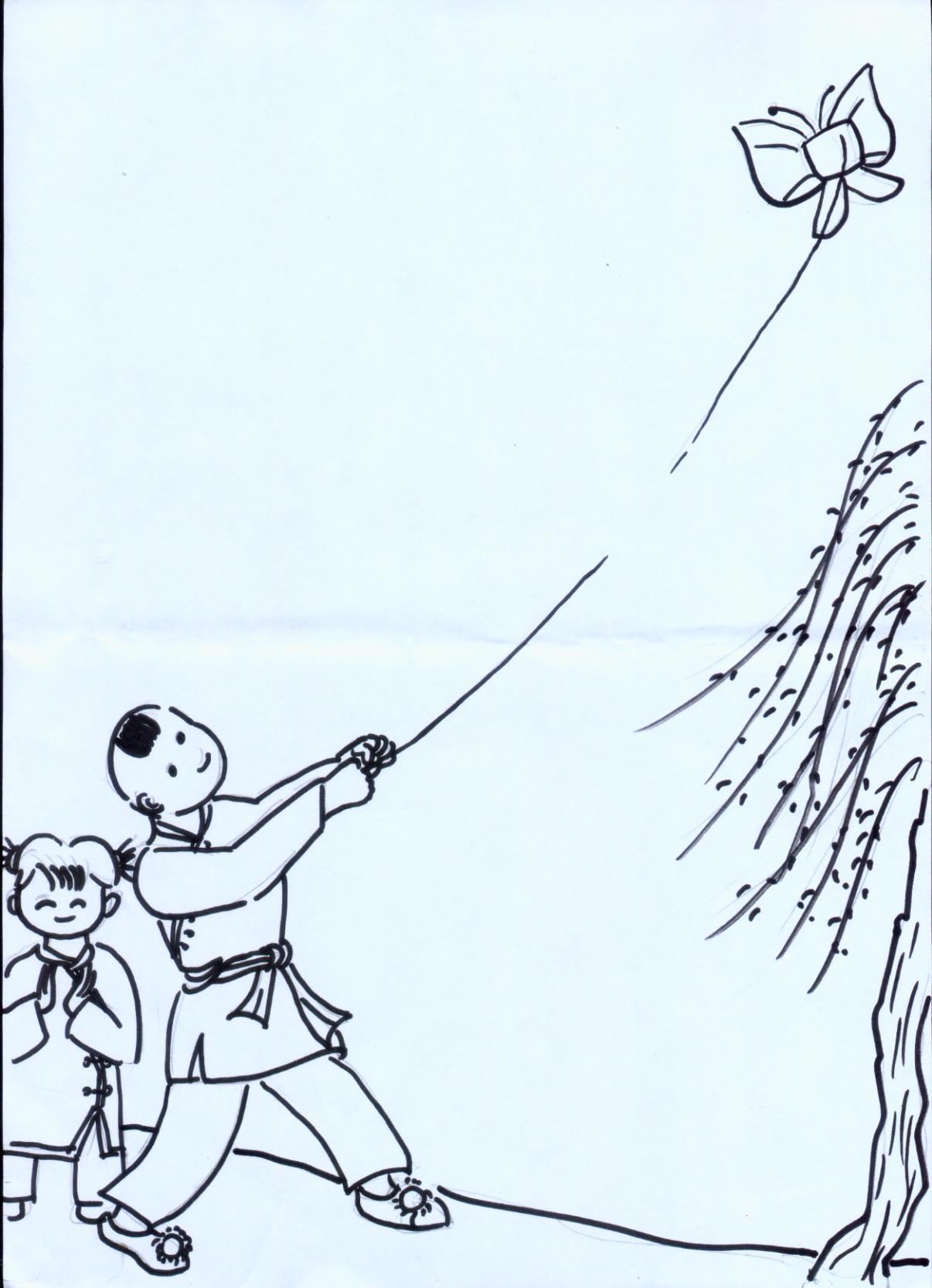 放风筝步骤图简笔画图片