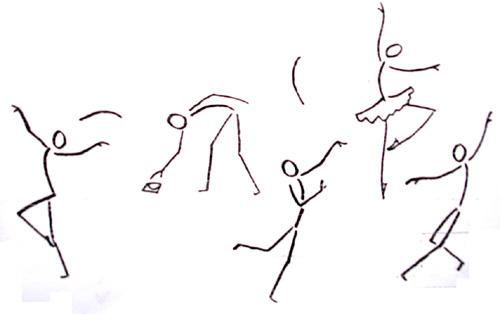 注意:画人的关节不能随心所欲,要注意能动点与比例.-简笔画的造